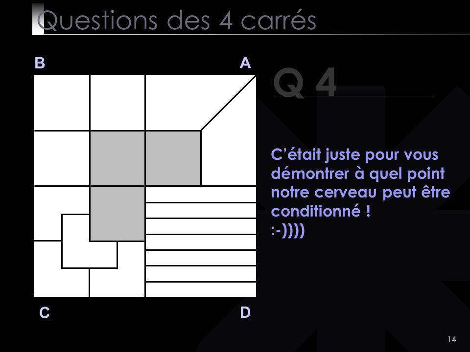 14 Q 4 B A D C Cétait juste pour vous démontrer à quel point notre cerveau peut être conditionné .