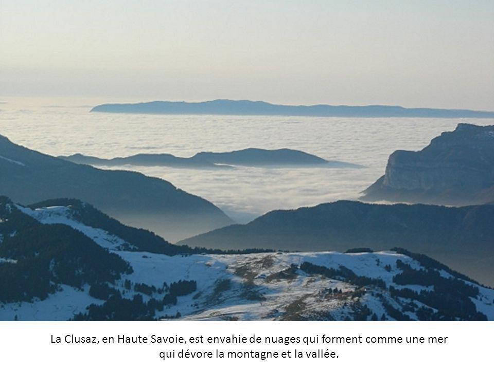 Le brouillard couvre la vallée en contrebas des tours de San Gimignano, en Toscane. La ville se situe à quelques kilomètres au-dessus d'une réserve na