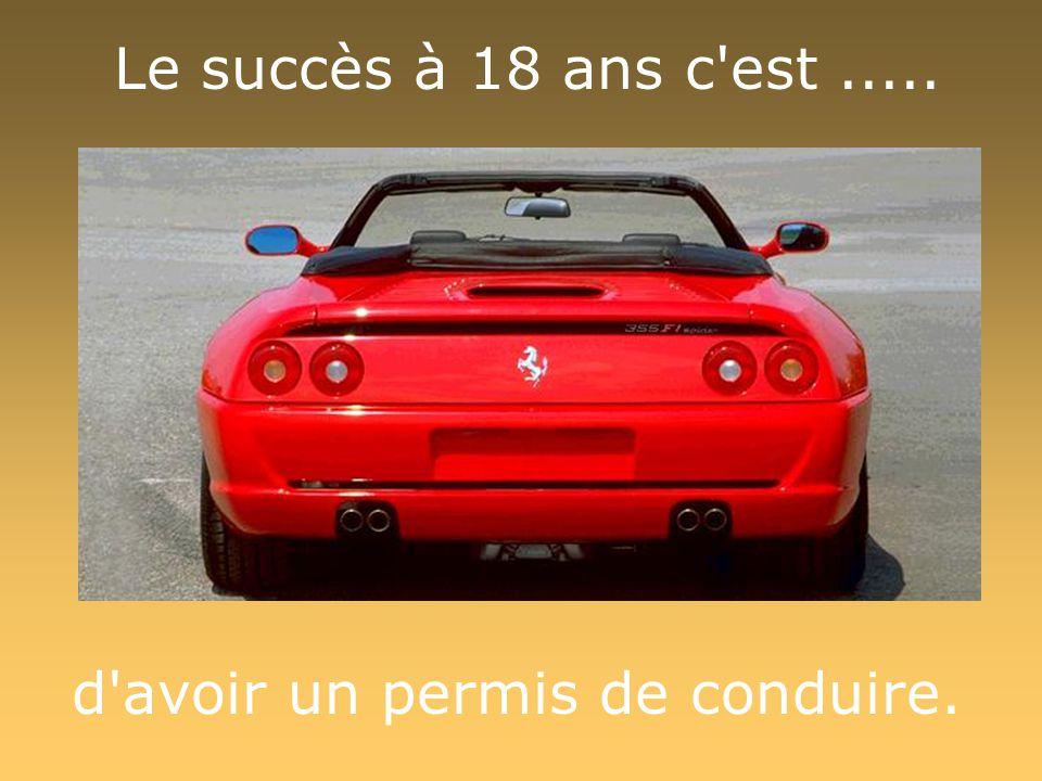 Le succès à 18 ans c'est..... d'avoir un permis de conduire.