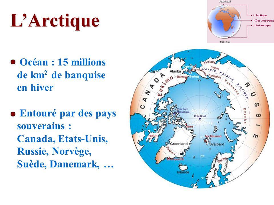 LArctique Océan : 15 millions de km 2 de banquise en hiver Entouré par des pays souverains : Canada, Etats-Unis, Russie, Norvège, Suède, Danemark, …