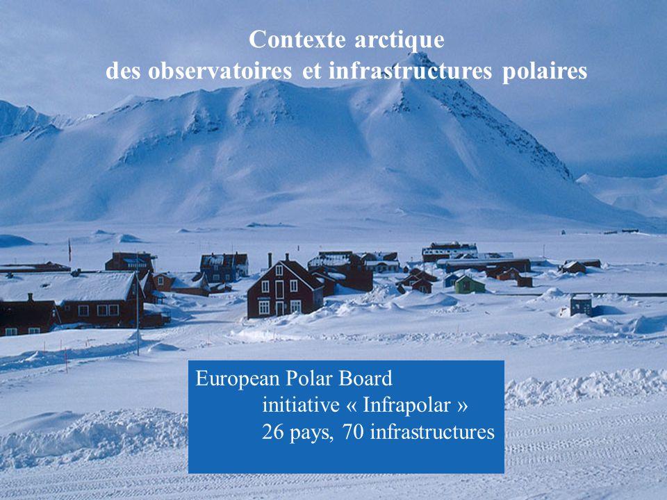 Contexte arctique des observatoires et infrastructures polaires European Polar Board initiative « Infrapolar » 26 pays, 70 infrastructures