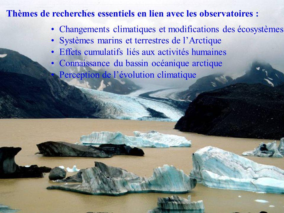 Thèmes de recherches essentiels en lien avec les observatoires : Changements climatiques et modifications des écosystèmes Systèmes marins et terrestre