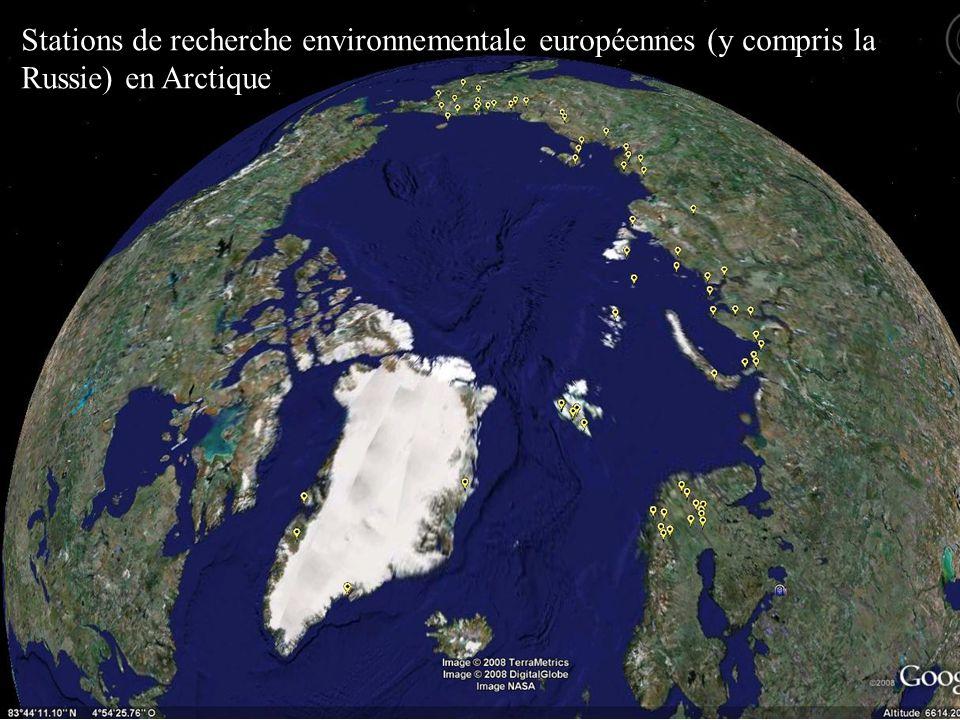 Stations de recherche environnementale européennes (y compris la Russie) en Arctique
