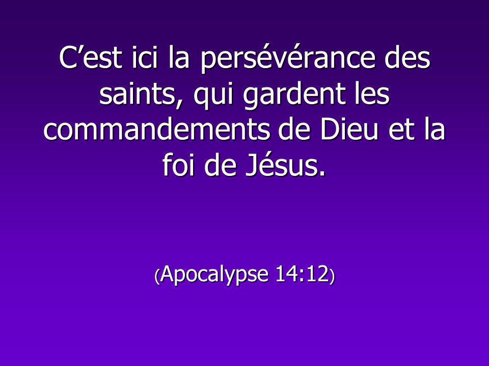 Cest ici la persévérance des saints, qui gardent les commandements de Dieu et la foi de Jésus. ( Apocalypse 14:12 )