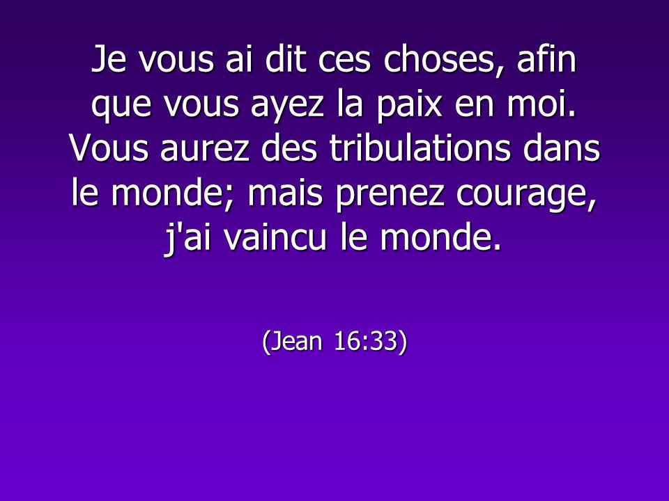 Je vous ai dit ces choses, afin que vous ayez la paix en moi. Vous aurez des tribulations dans le monde; mais prenez courage, j'ai vaincu le monde. (J