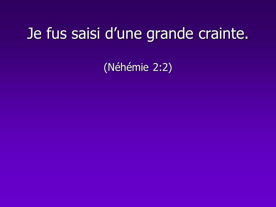 Je fus saisi dune grande crainte. (Néhémie 2:2)