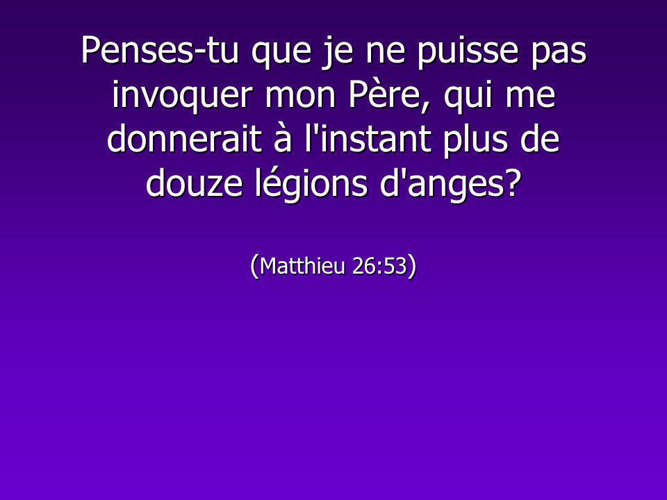 Penses-tu que je ne puisse pas invoquer mon Père, qui me donnerait à l'instant plus de douze légions d'anges? ( Matthieu 26:53 )