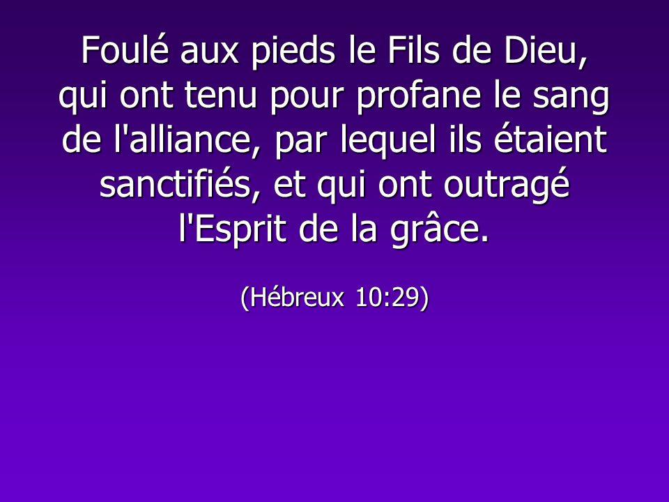 Foulé aux pieds le Fils de Dieu, qui ont tenu pour profane le sang de l'alliance, par lequel ils étaient sanctifiés, et qui ont outragé l'Esprit de la