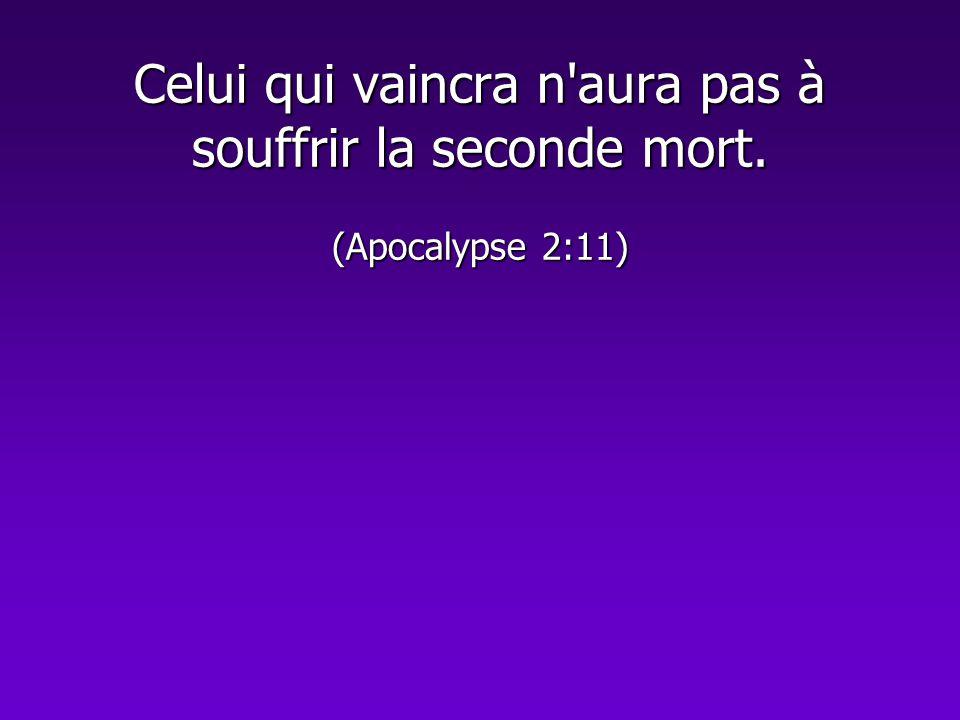 Celui qui vaincra n'aura pas à souffrir la seconde mort. (Apocalypse 2:11)