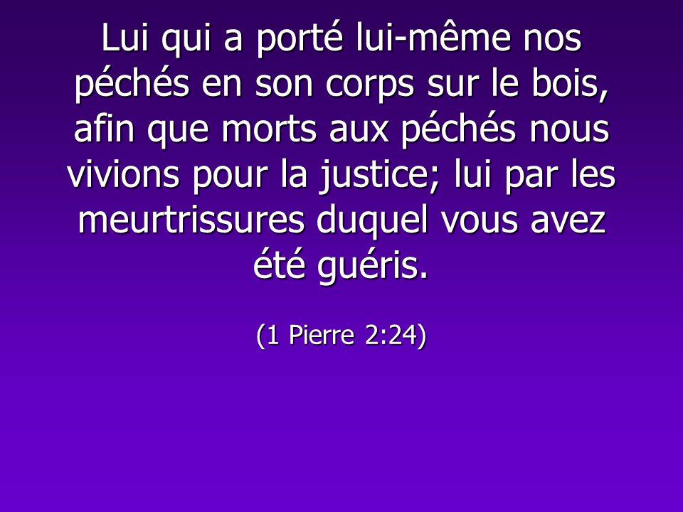 Lui qui a porté lui-même nos péchés en son corps sur le bois, afin que morts aux péchés nous vivions pour la justice; lui par les meurtrissures duquel