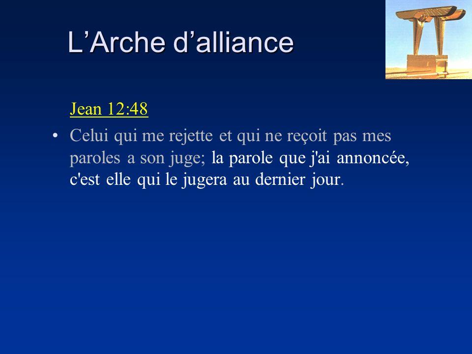 LArche dalliance Jean 12:48 Celui qui me rejette et qui ne reçoit pas mes paroles a son juge; la parole que j'ai annoncée, c'est elle qui le jugera au