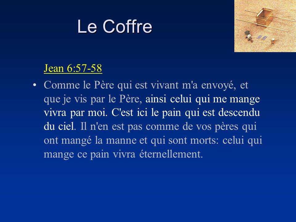 Le Coffre Jean 6:57-58 Comme le Père qui est vivant m'a envoyé, et que je vis par le Père, ainsi celui qui me mange vivra par moi. C'est ici le pain q