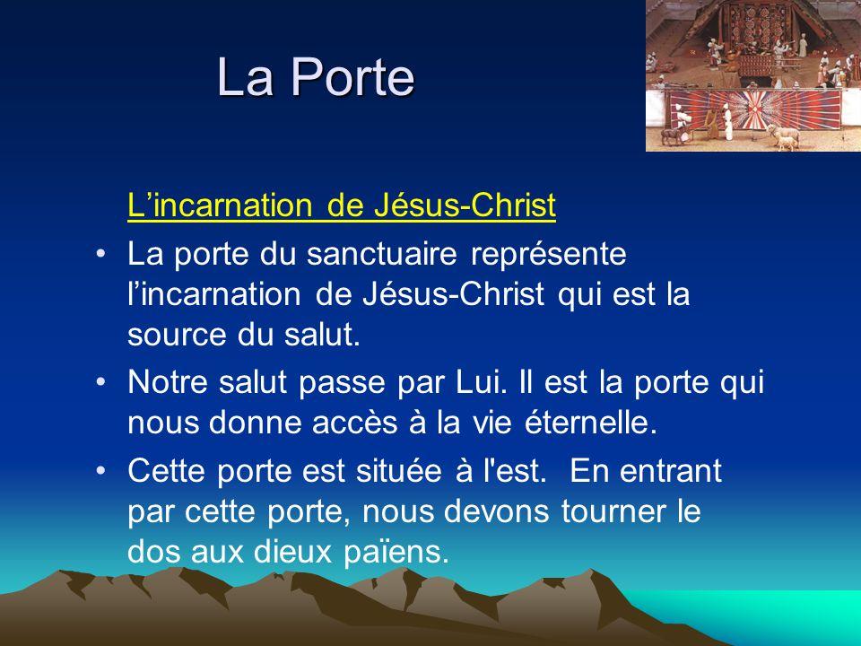 La Porte Lincarnation de Jésus-Christ La porte du sanctuaire représente lincarnation de Jésus-Christ qui est la source du salut. Notre salut passe par