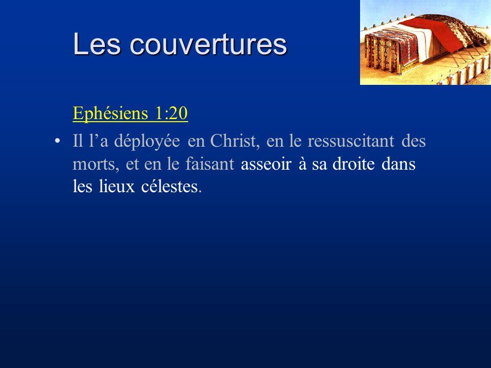Les couvertures Ephésiens 1:20 Il la déployée en Christ, en le ressuscitant des morts, et en le faisant asseoir à sa droite dans les lieux célestes.