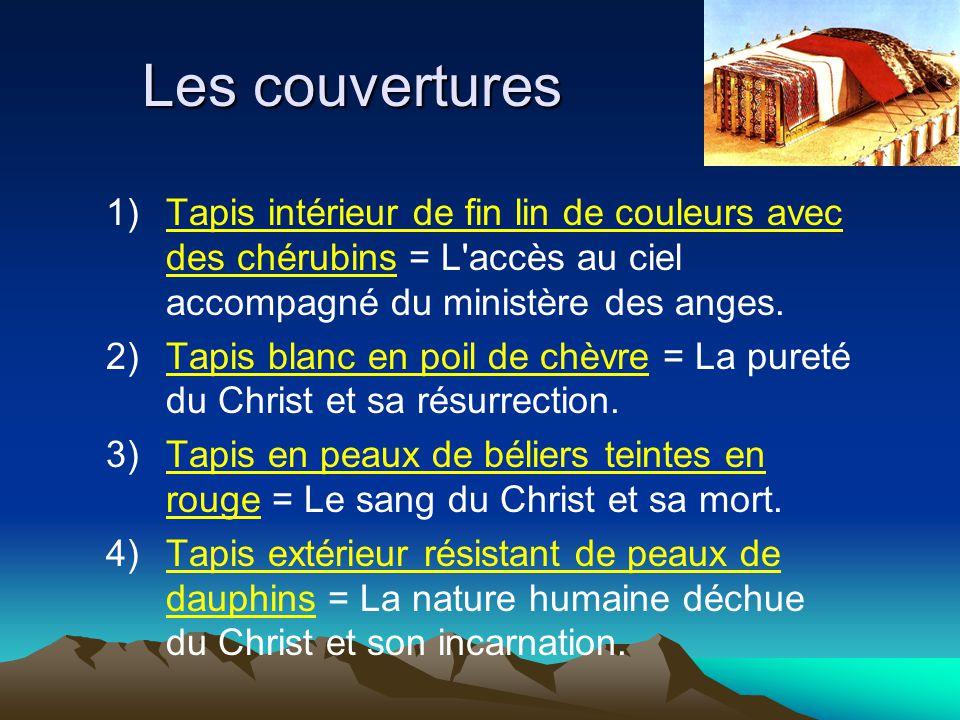 Les couvertures 1)Tapis intérieur de fin lin de couleurs avec des chérubins = L'accès au ciel accompagné du ministère des anges. 2)Tapis blanc en poil