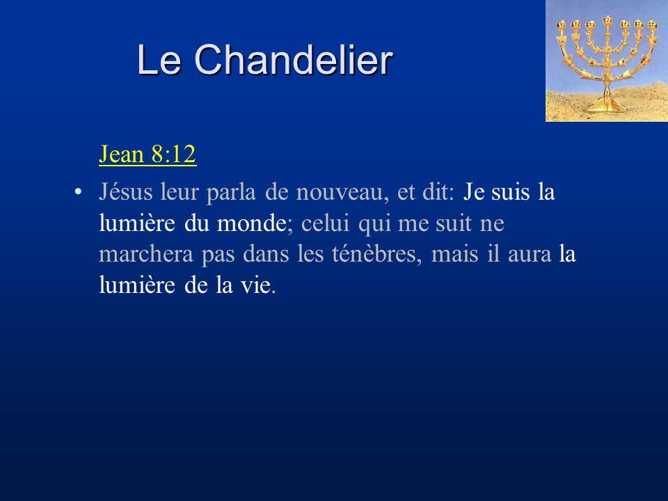 Le Chandelier Jean 8:12 Jésus leur parla de nouveau, et dit: Je suis la lumière du monde; celui qui me suit ne marchera pas dans les ténèbres, mais il