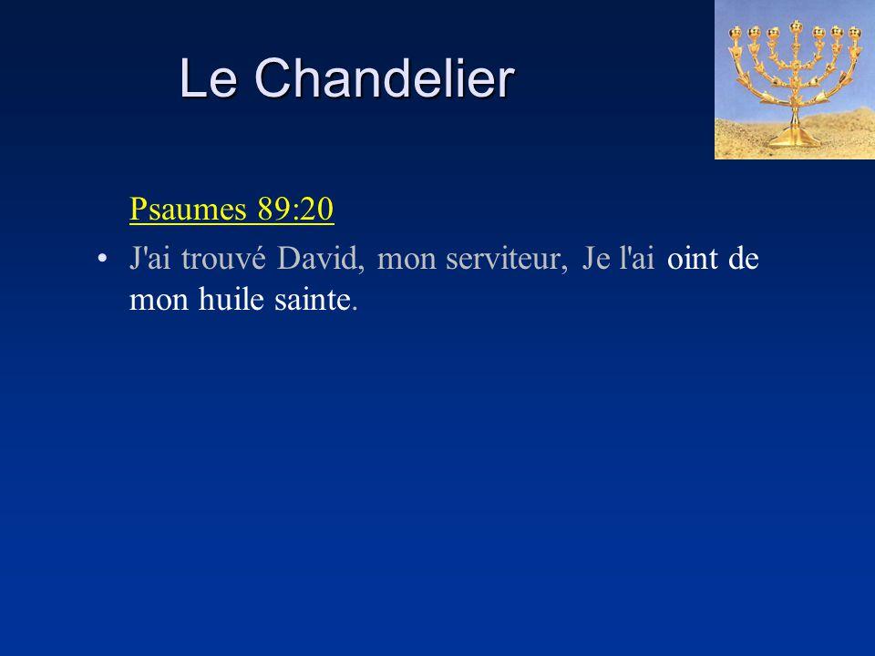 Le Chandelier Psaumes 89:20 J'ai trouvé David, mon serviteur, Je l'ai oint de mon huile sainte.