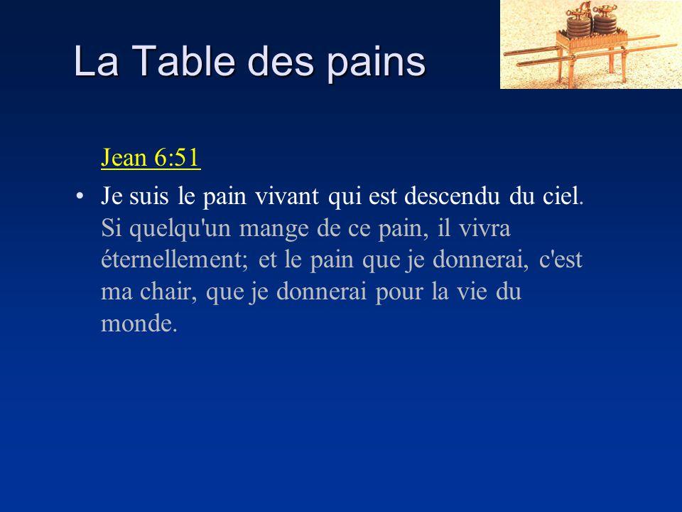La Table des pains Jean 6:51 Je suis le pain vivant qui est descendu du ciel. Si quelqu'un mange de ce pain, il vivra éternellement; et le pain que je