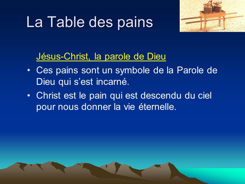 La Table des pains Jésus-Christ, la parole de Dieu Ces pains sont un symbole de la Parole de Dieu qui sest incarné. Christ est le pain qui est descend
