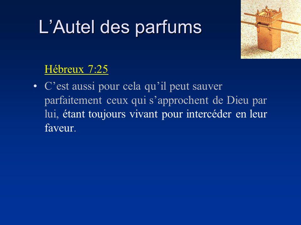 LAutel des parfums Hébreux 7:25 Cest aussi pour cela quil peut sauver parfaitement ceux qui sapprochent de Dieu par lui, étant toujours vivant pour in