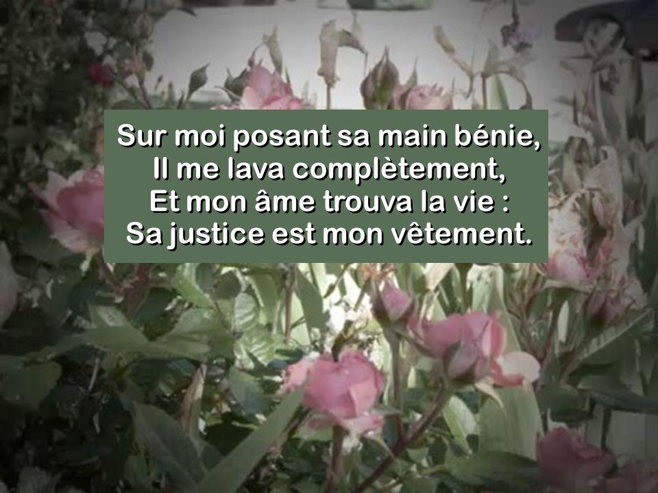 Sur moi posant sa main bénie, Il me lava complètement, Et mon âme trouva la vie : Sa justice est mon vêtement.