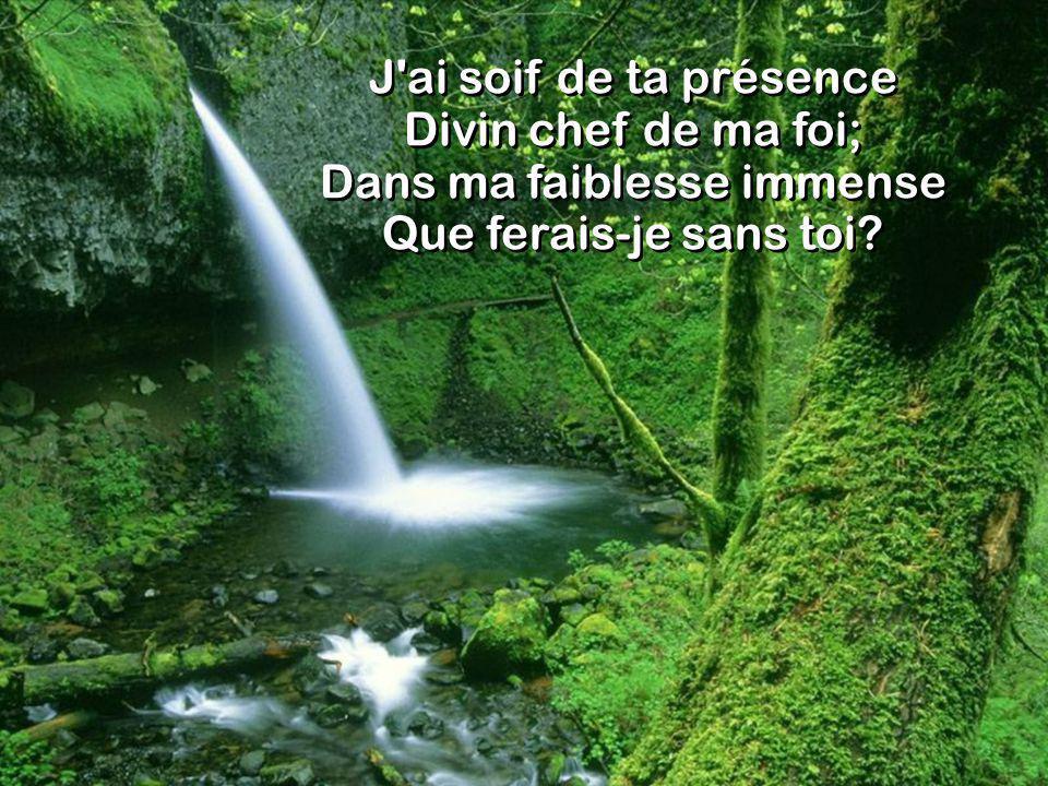 J'ai soif de ta présence Divin chef de ma foi; Dans ma faiblesse immense Que ferais-je sans toi?