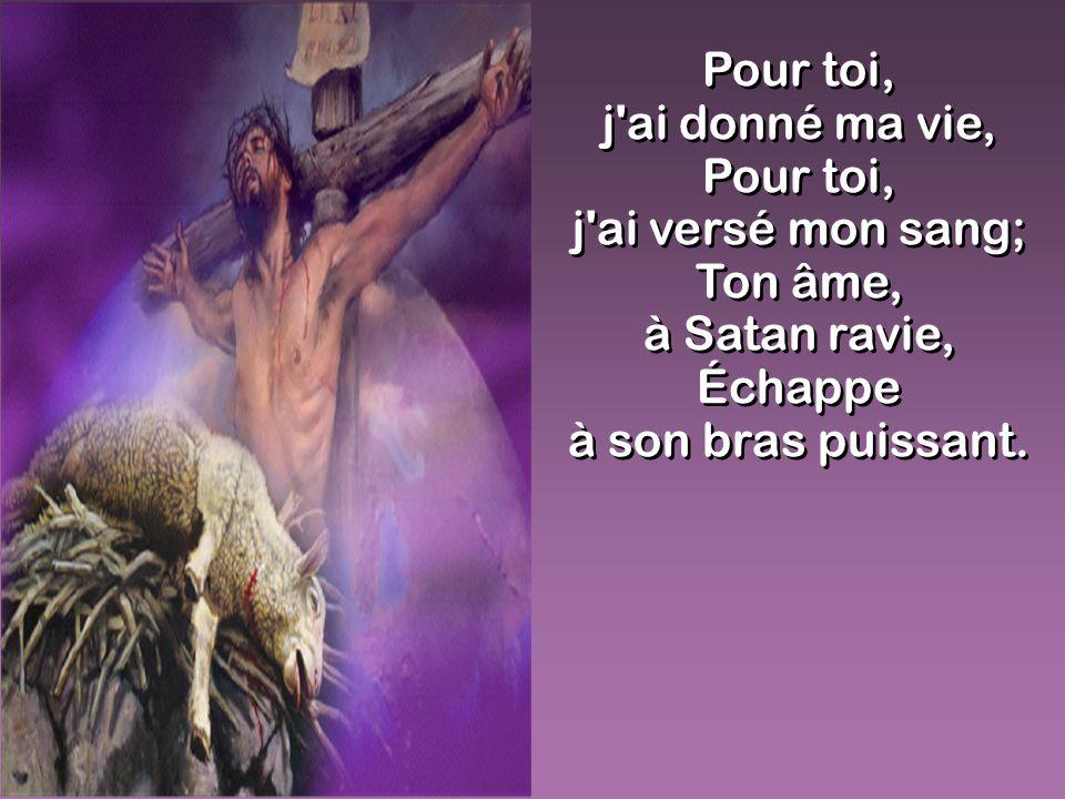 Pour toi, j'ai donné ma vie, Pour toi, j'ai versé mon sang; Ton âme, à Satan ravie, Échappe à son bras puissant. Pour toi, j'ai donné ma vie, Pour toi