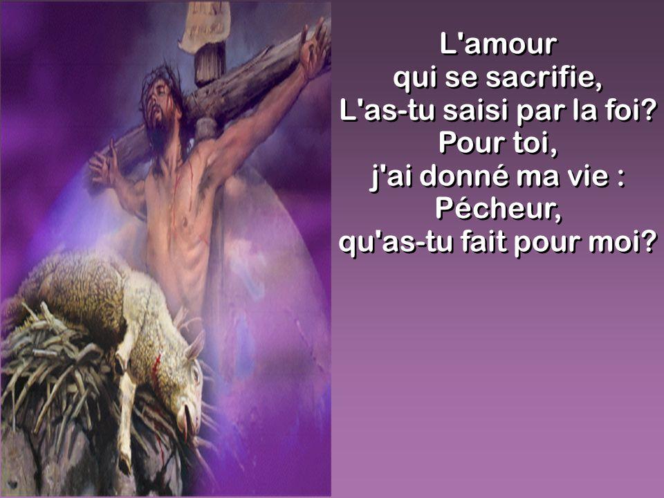 L'amour qui se sacrifie, L'as-tu saisi par la foi? Pour toi, j'ai donné ma vie : Pécheur, qu'as-tu fait pour moi? L'amour qui se sacrifie, L'as-tu sai