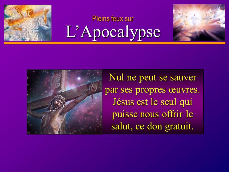D anie l Pleins feux sur 2 Nul ne peut se sauver par ses propres œuvres. Jésus est le seul qui puisse nous offrir le salut, ce don gratuit. LApocalyps