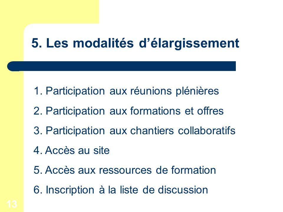 13 5. Les modalités délargissement 1. Participation aux réunions plénières 2.