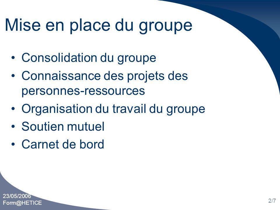 23/05/2006 Form@HETICE 2/7 Mise en place du groupe Consolidation du groupe Connaissance des projets des personnes-ressources Organisation du travail du groupe Soutien mutuel Carnet de bord