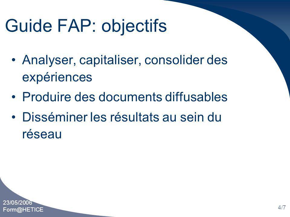 23/05/2006 Form@HETICE 4/7 Guide FAP: objectifs Analyser, capitaliser, consolider des expériences Produire des documents diffusables Disséminer les résultats au sein du réseau