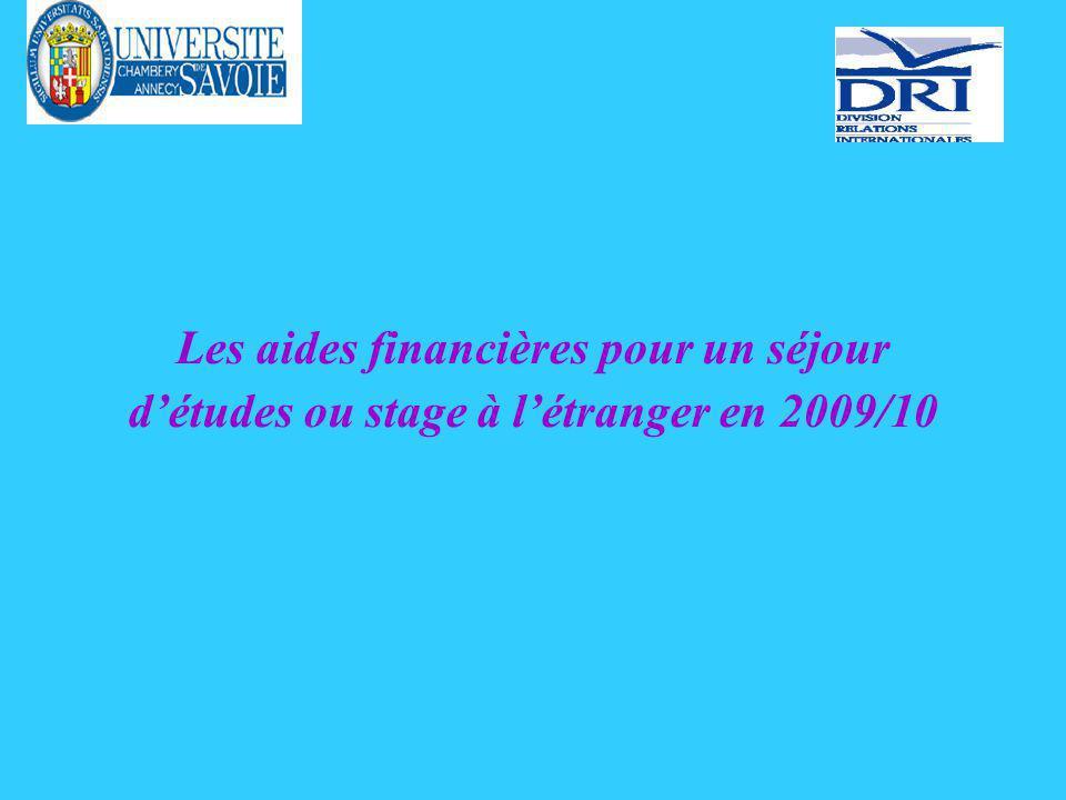 Les aides financières pour un séjour détudes ou stage à létranger en 2009/10