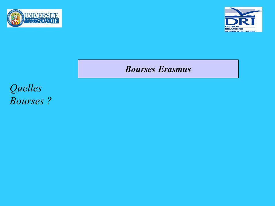 Quelles Bourses ? Bourses Erasmus
