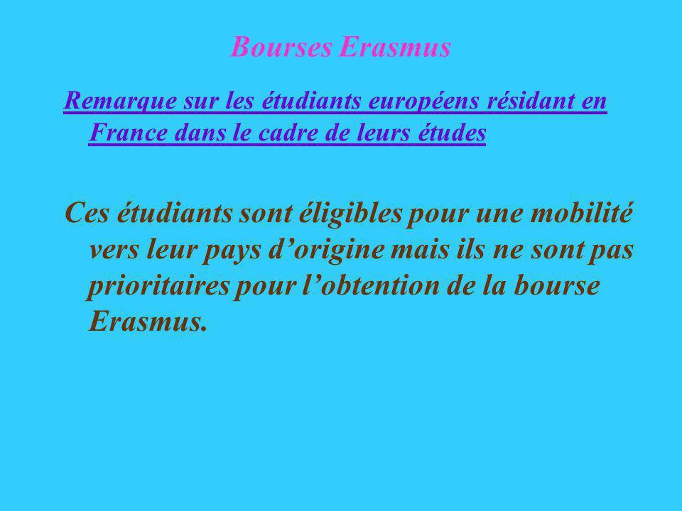 Bourses Erasmus Remarque sur les étudiants européens résidant en France dans le cadre de leurs études Ces étudiants sont éligibles pour une mobilité vers leur pays dorigine mais ils ne sont pas prioritaires pour lobtention de la bourse Erasmus.
