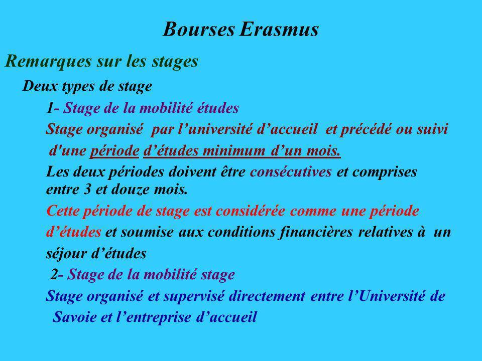 Bourses Erasmus Remarques sur les stages Deux types de stage 1- Stage de la mobilité études Stage organisé par luniversité daccueil et précédé ou suivi d une période détudes minimum dun mois.