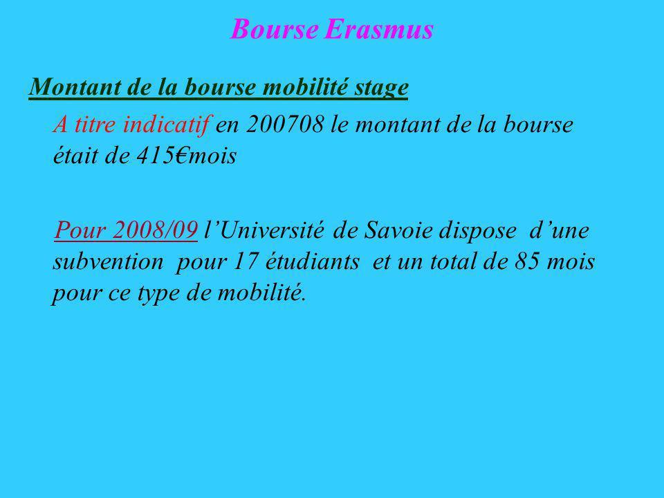 Bourse Erasmus Montant de la bourse mobilité stage A titre indicatif en 200708 le montant de la bourse était de 415mois Pour 2008/09 lUniversité de Savoie dispose dune subvention pour 17 étudiants et un total de 85 mois pour ce type de mobilité.
