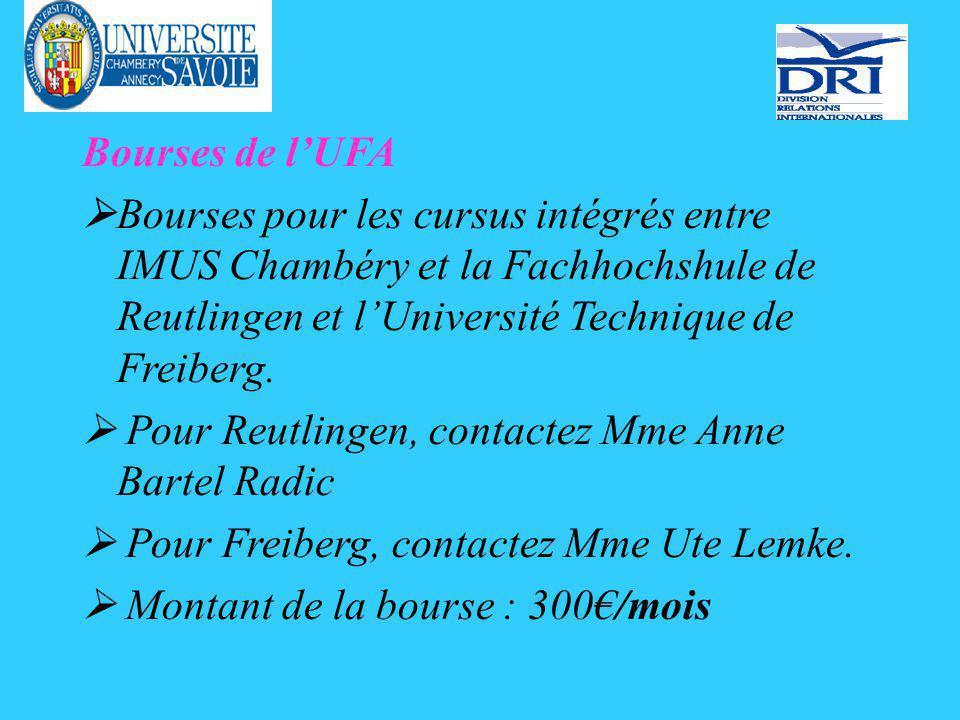 Bourses de lUFA Bourses pour les cursus intégrés entre IMUS Chambéry et la Fachhochshule de Reutlingen et lUniversité Technique de Freiberg.