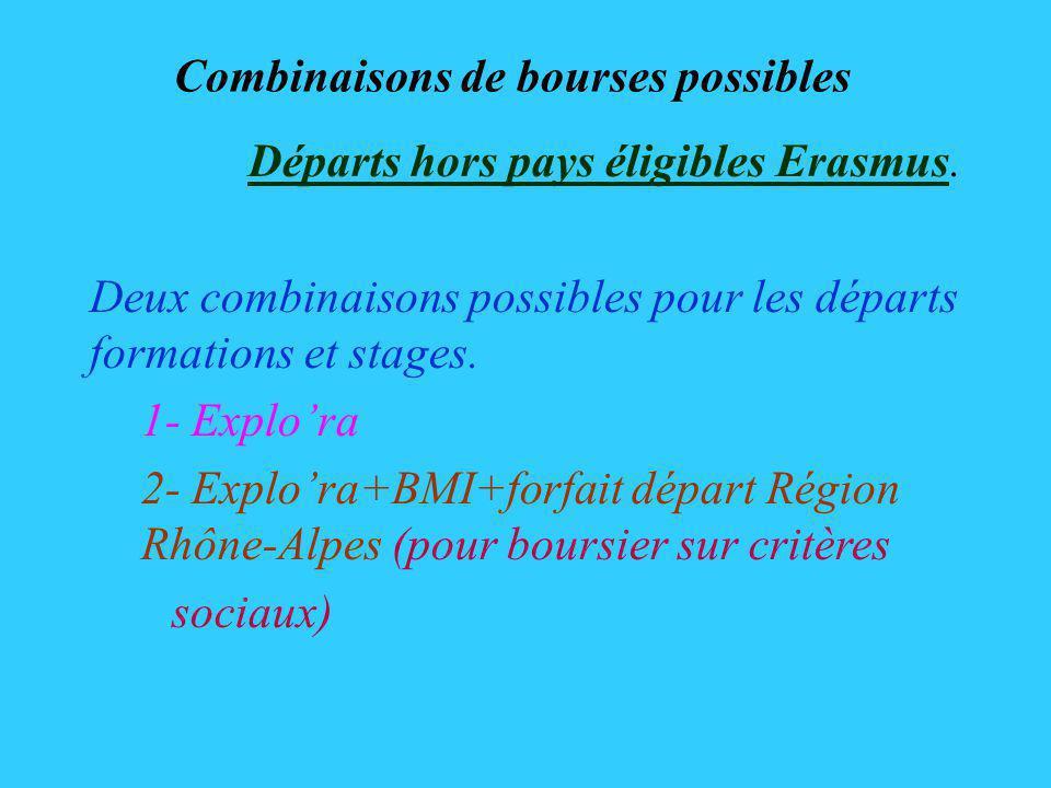 Combinaisons de bourses possibles Départs hors pays éligibles Erasmus.