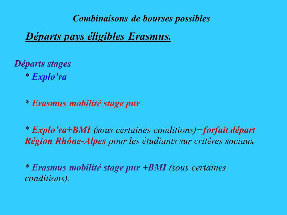 Combinaisons de bourses possibles Départs pays éligibles Erasmus.