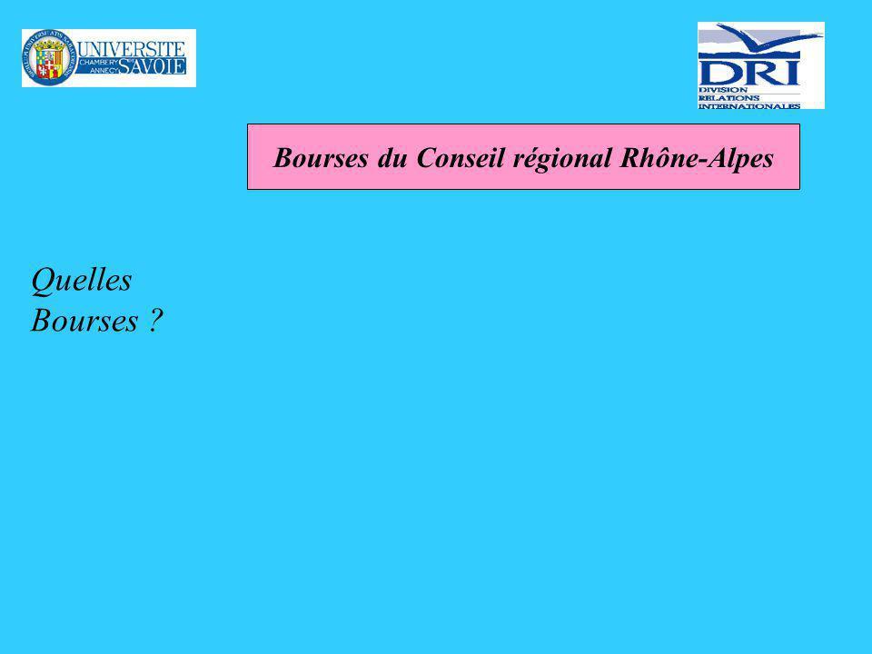 Bourses de la Région Rhône-Alpes : Explora Critères déligibilité : être en formation bac+2 lannée du départ préparer un diplôme dEtat, ou un titre homologué du niveau 3 (bac+2) au niveau 1 (doctorat exclu).