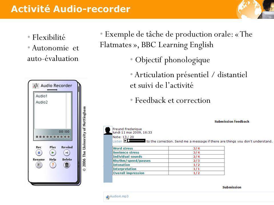 Flexibilité Autonomie et auto-évaluation Exemple de tâche de production orale: « The Flatmates », BBC Learning English Objectif phonologique Articulation présentiel / distantiel et suivi de lactivité Feedback et correction Activité Audio-recorder