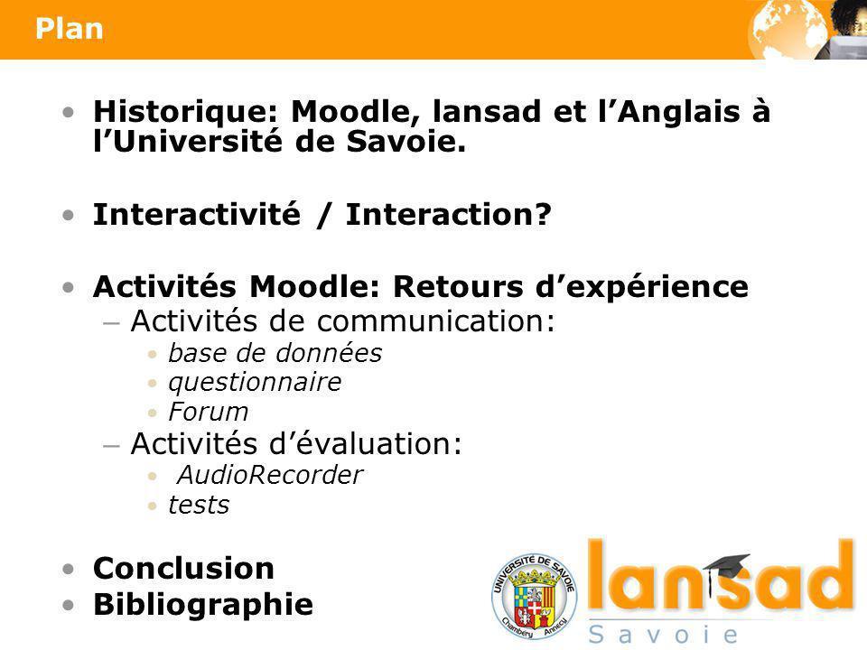 Historique: Moodle, lansad et lAnglais à lUniversité de Savoie. Interactivité / Interaction? Activités Moodle: Retours dexpérience – Activités de comm