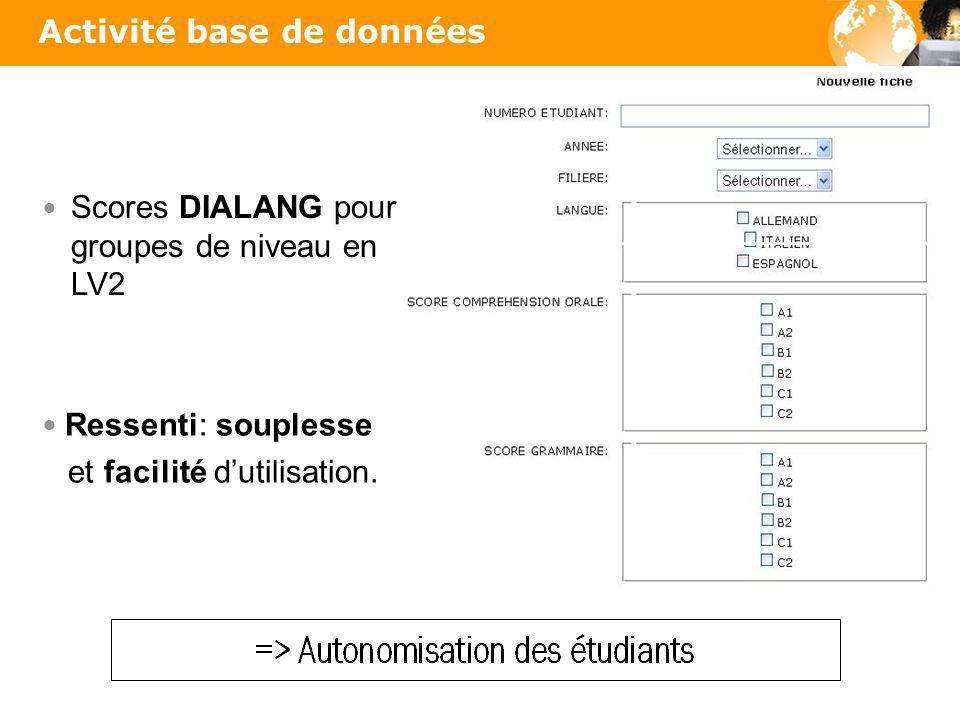 Activité base de données Scores DIALANG pour groupes de niveau en LV2 Ressenti: souplesse et facilité dutilisation.