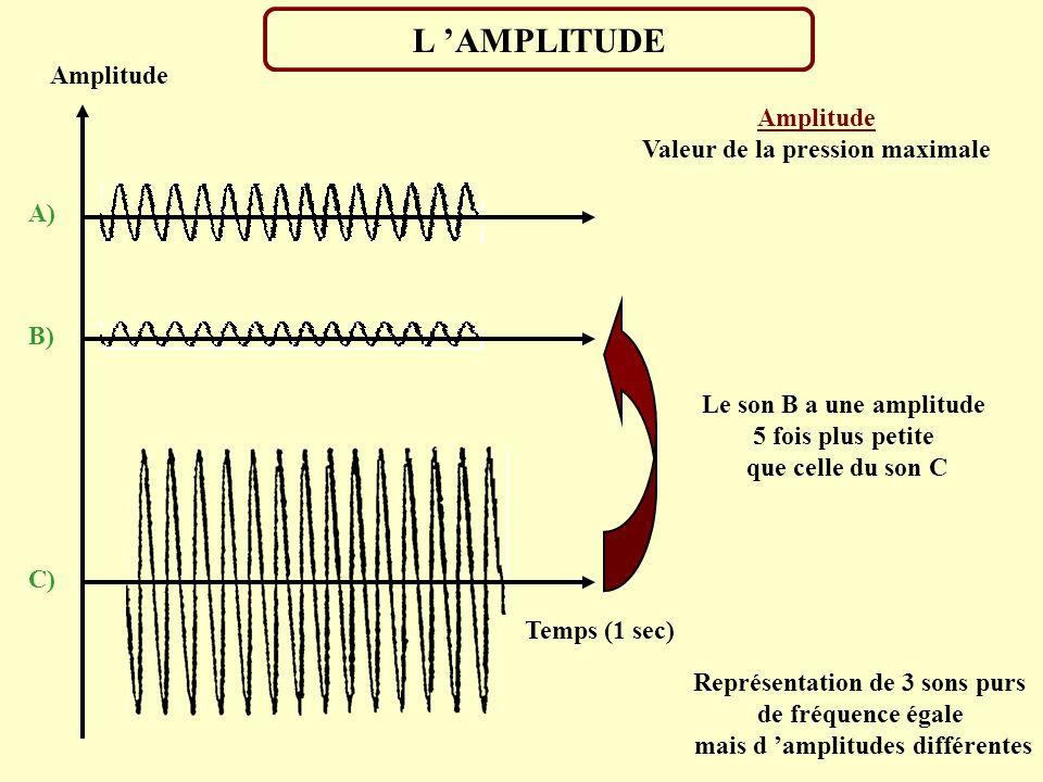 LA FREQUENCE Amplitude Temps (1 sec) Fréquence Nombre de cycles d oscillation effectués pendant une seconde exprimée en Hertz (Hz) Le son D a une fréq