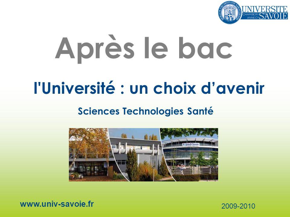 Après le bac l'Université : un choix davenir www.univ-savoie.fr 2009-2010 Sciences Technologies Santé