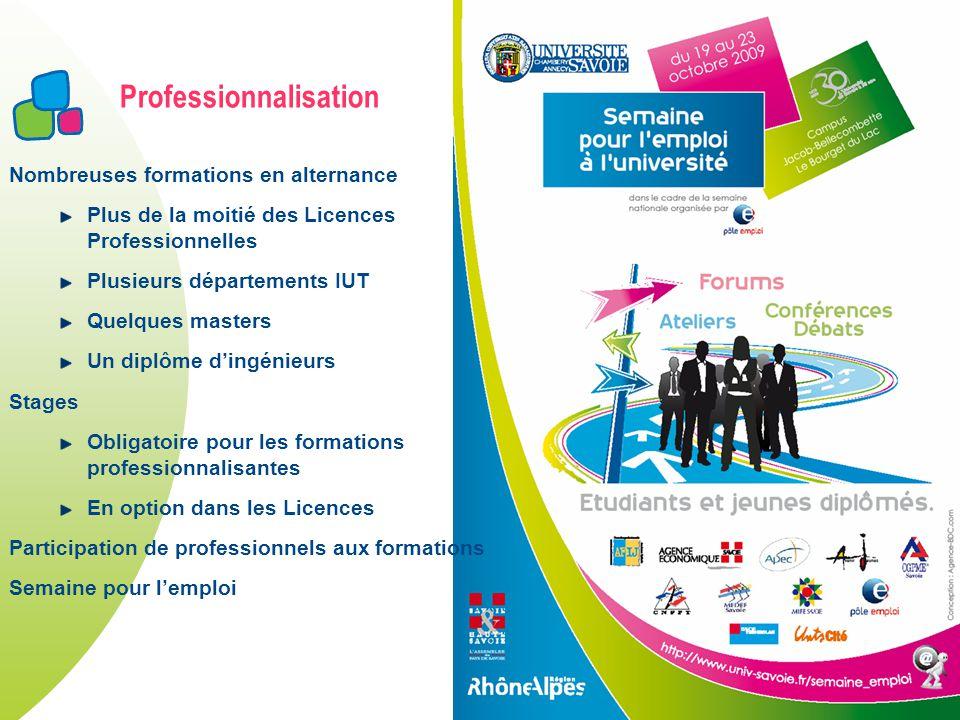 Professionnalisation Nombreuses formations en alternance Plus de la moitié des Licences Professionnelles Plusieurs départements IUT Quelques masters U