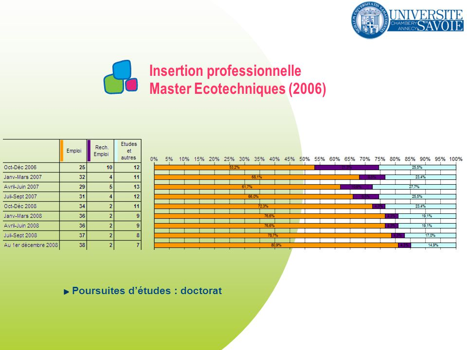 Insertion professionnelle Master Ecotechniques (2006) Poursuites détudes : doctorat