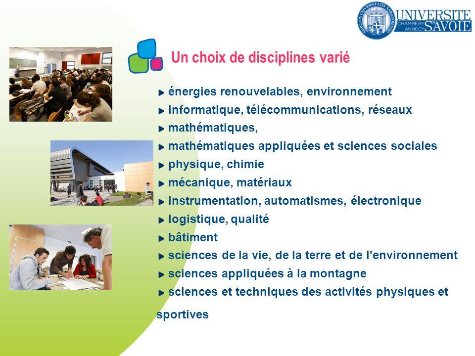 Un choix de disciplines varié énergies renouvelables, environnement informatique, télécommunications, réseaux mathématiques, mathématiques appliquées