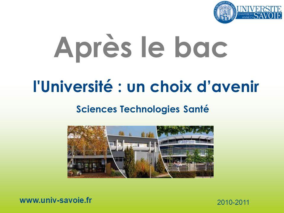 Après le bac l Université : un choix davenir www.univ-savoie.fr 2010-2011 Sciences Technologies Santé